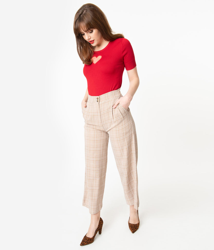 Retro Style Light Brown Plaid Wide Leg Pants