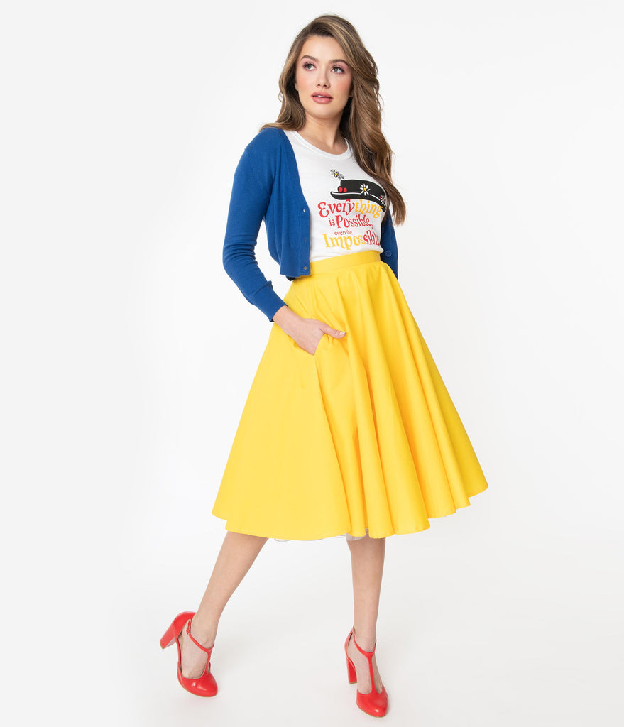 1950s Style Solid Yellow Swing Skirt
