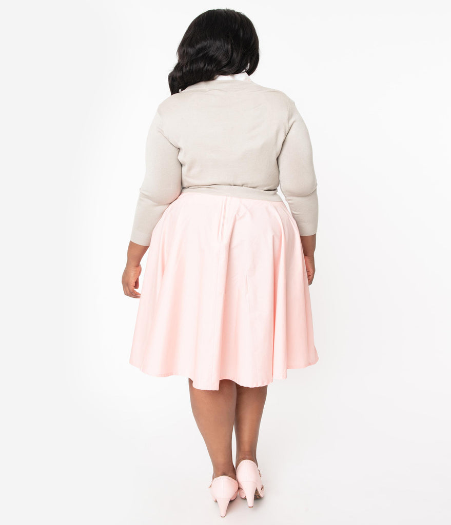 Plus Size 1950s Style Peach Cotton Swing Skirt