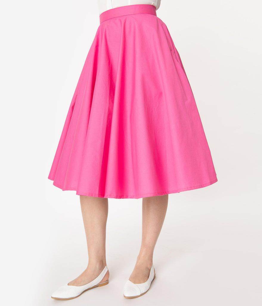 1950s Style Solid Fuchsia Swing Skirt