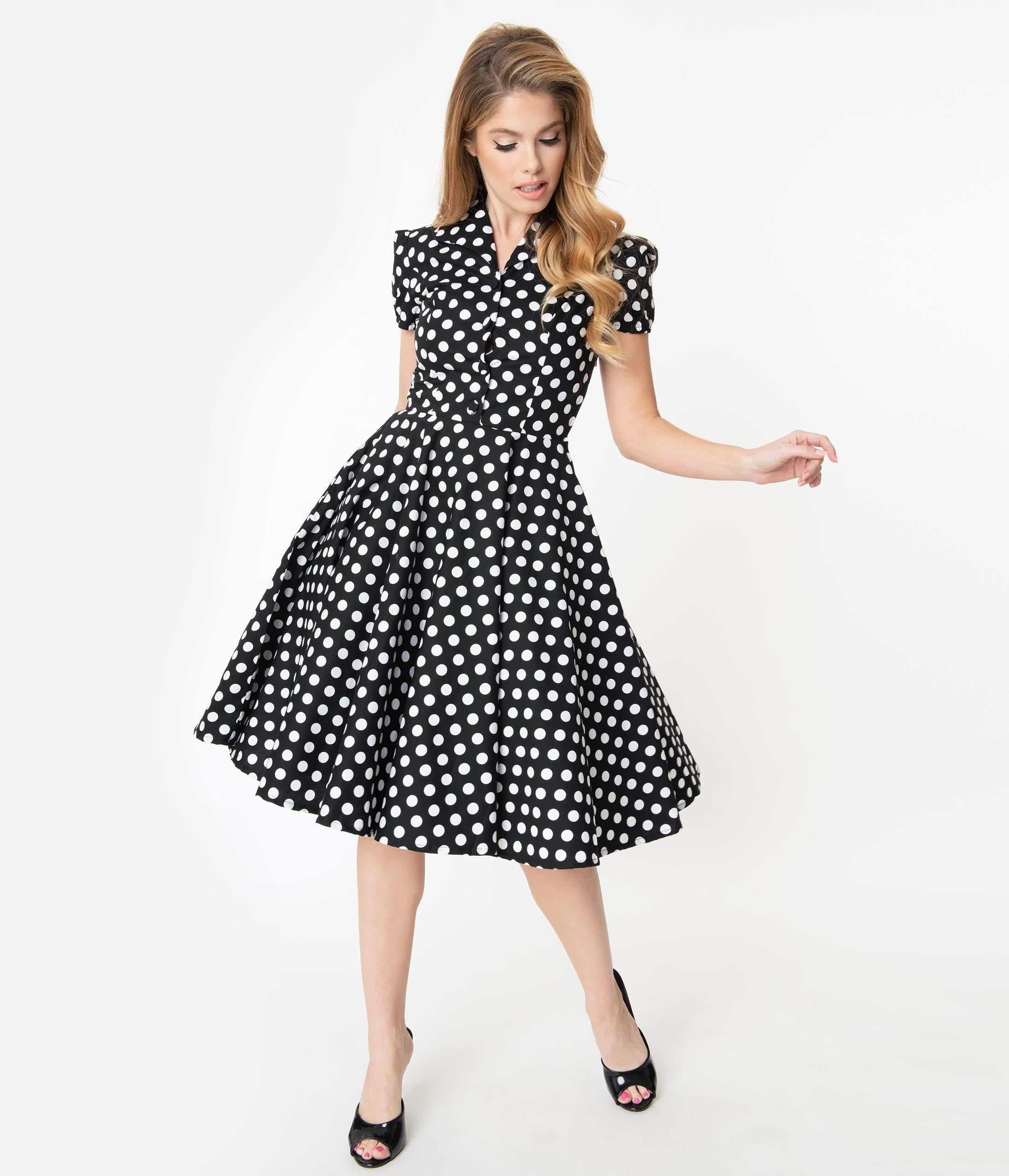 500 Vintage Style Dresses for Sale | Vintage Inspired Dresses 1950S Style Black  White Polka Dot Mona Swing Dress $78.00 AT vintagedancer.com