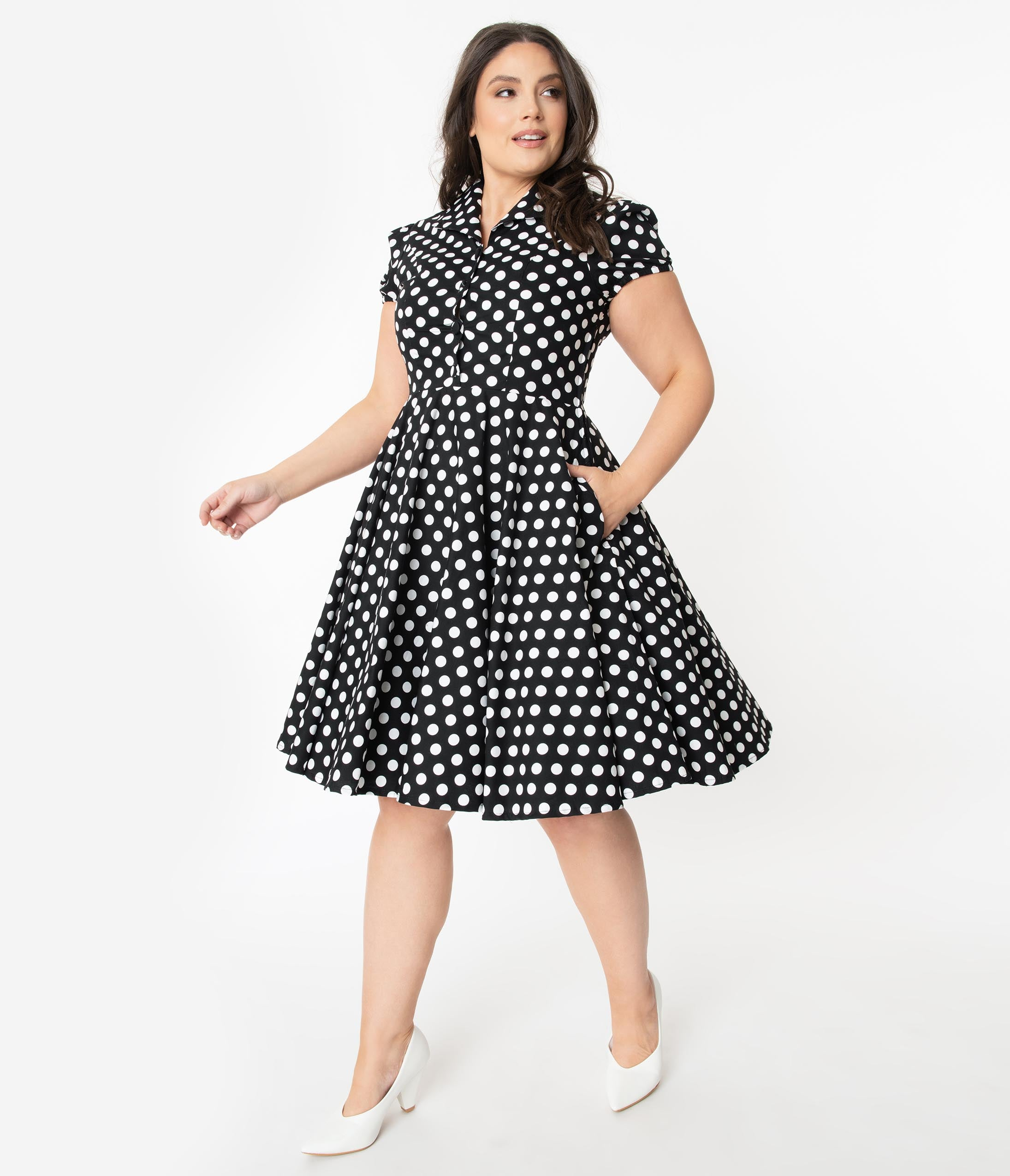 1950s Plus Size Dresses, Swing Dresses Plus Size 1950S Style Black  White Polka Dot Mona Swing Dress $78.00 AT vintagedancer.com