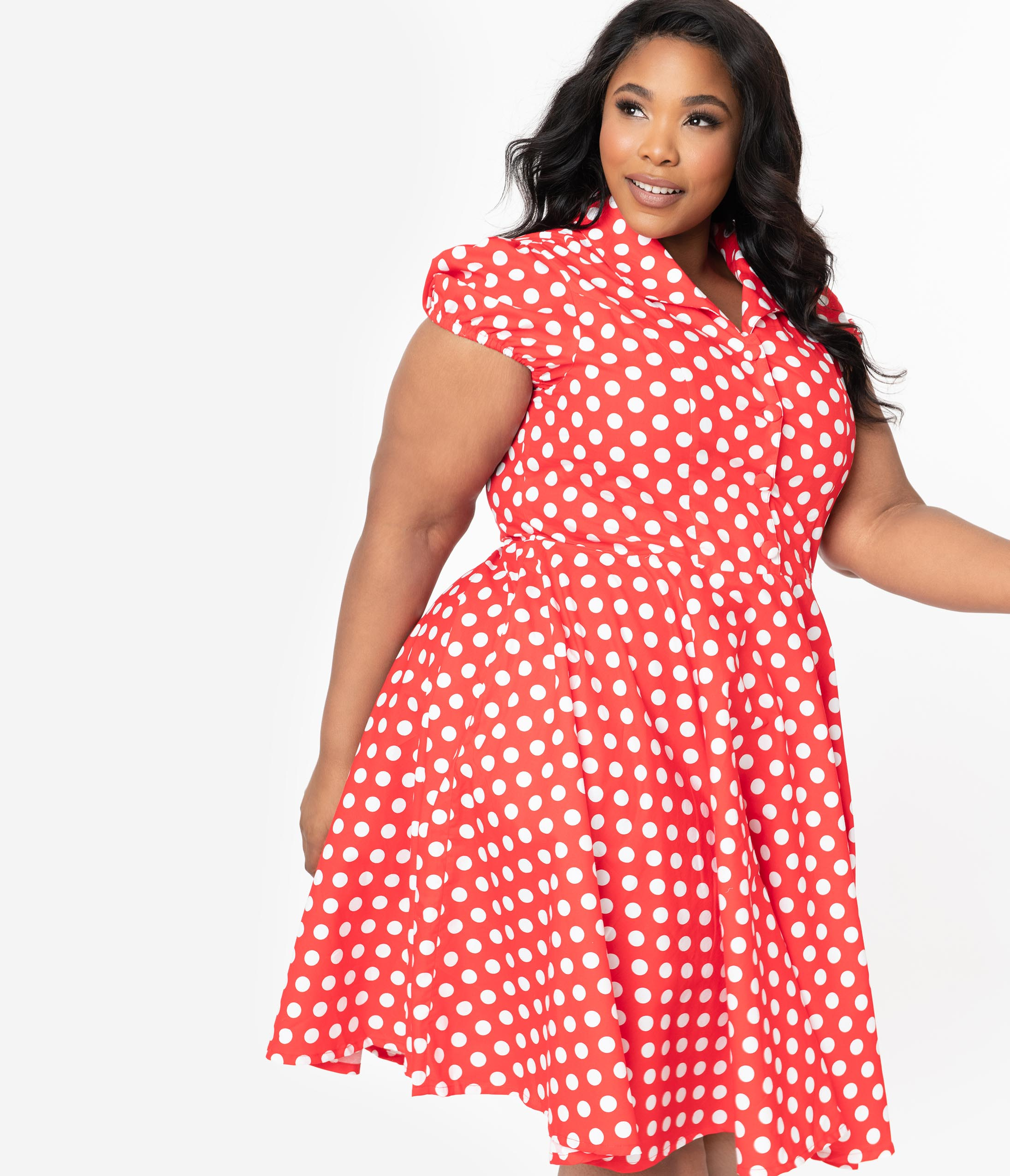 1950s Plus Size Dresses, Swing Dresses Plus Size 1950S Red  White Polka Dot Mona Swing Dress $78.00 AT vintagedancer.com
