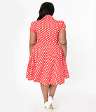 Plus Size 1950s Red & White Polka Dot Mona Swing Dress
