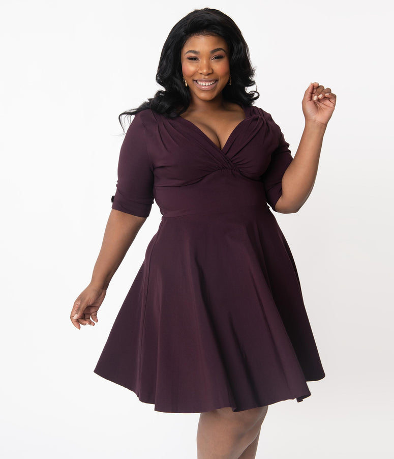 Unique Vintage Plus Size 1950s Dark Purple Delores Fit & Flare Dress