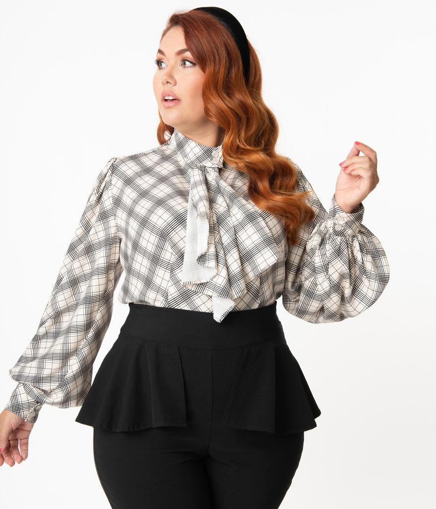 Unique Vintage Plus Size 1950s Cream & Black Windowpane Gabor Blouse