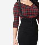 Unique Vintage Grey & Red Plaid Scarlett Top