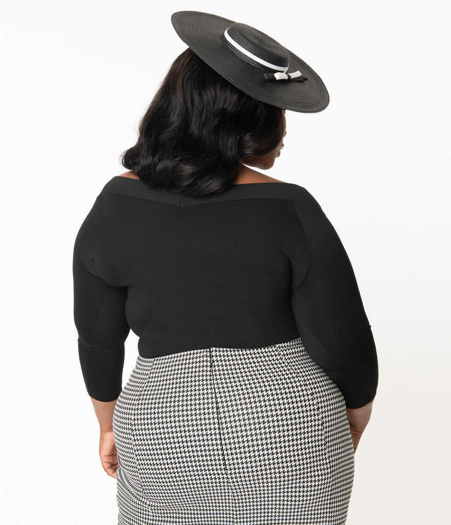 Unique Vintage Plus Size Black Scarlett Top