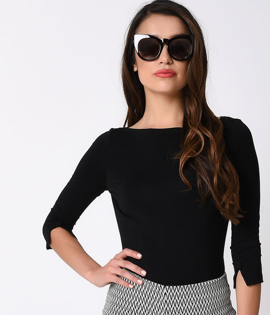 Banned Retro Black Three-Quarter Bow Sleeve Knit Modern Love Top