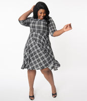 Plus Size Modest A-line Swing-Skirt Knit Vintage Sweater Plaid Print 3/4 Sleeves Dress