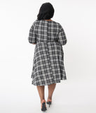 Unique Vintage Plus Size 1950s Grey Plaid Nicole Swing Dress