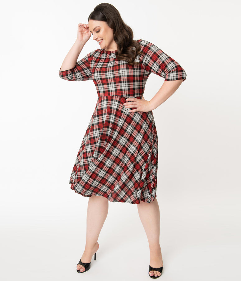 Unique Vintage Plus Size 1950s Red & Grey Plaid Nicole Swing Dress