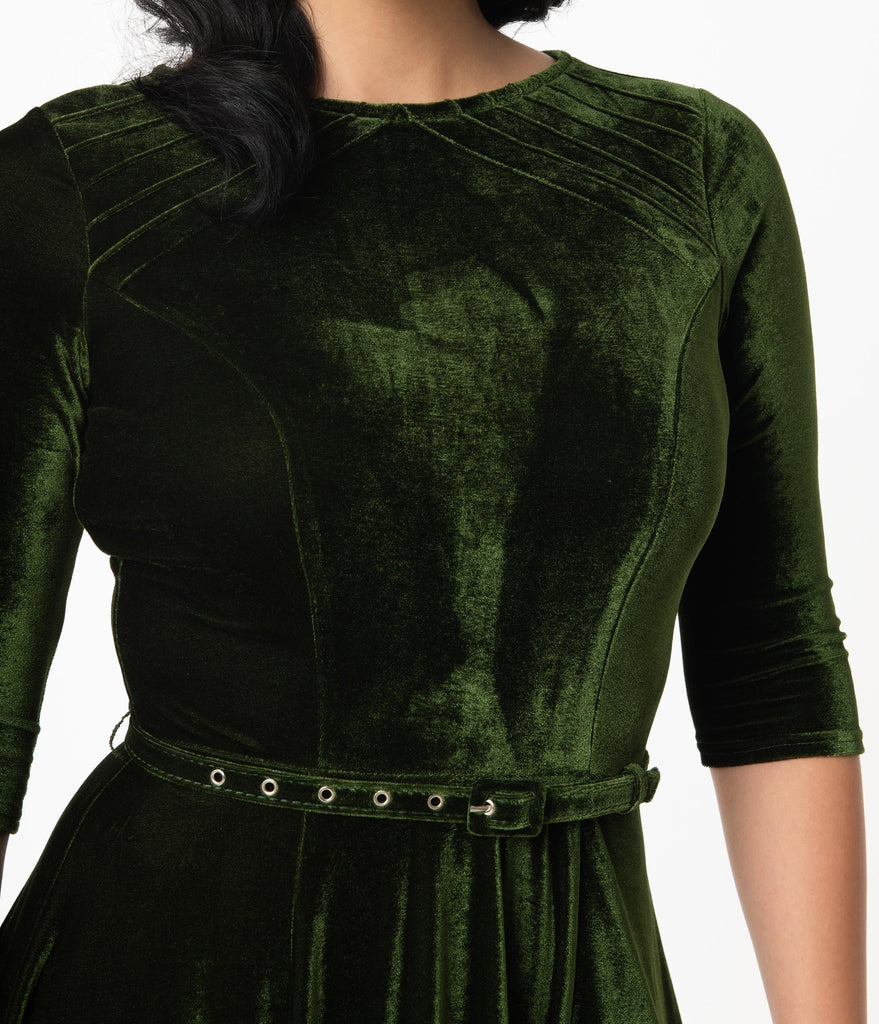 Unique Vintage Olive Green Velvet Stephanie Fit & Flare Dress