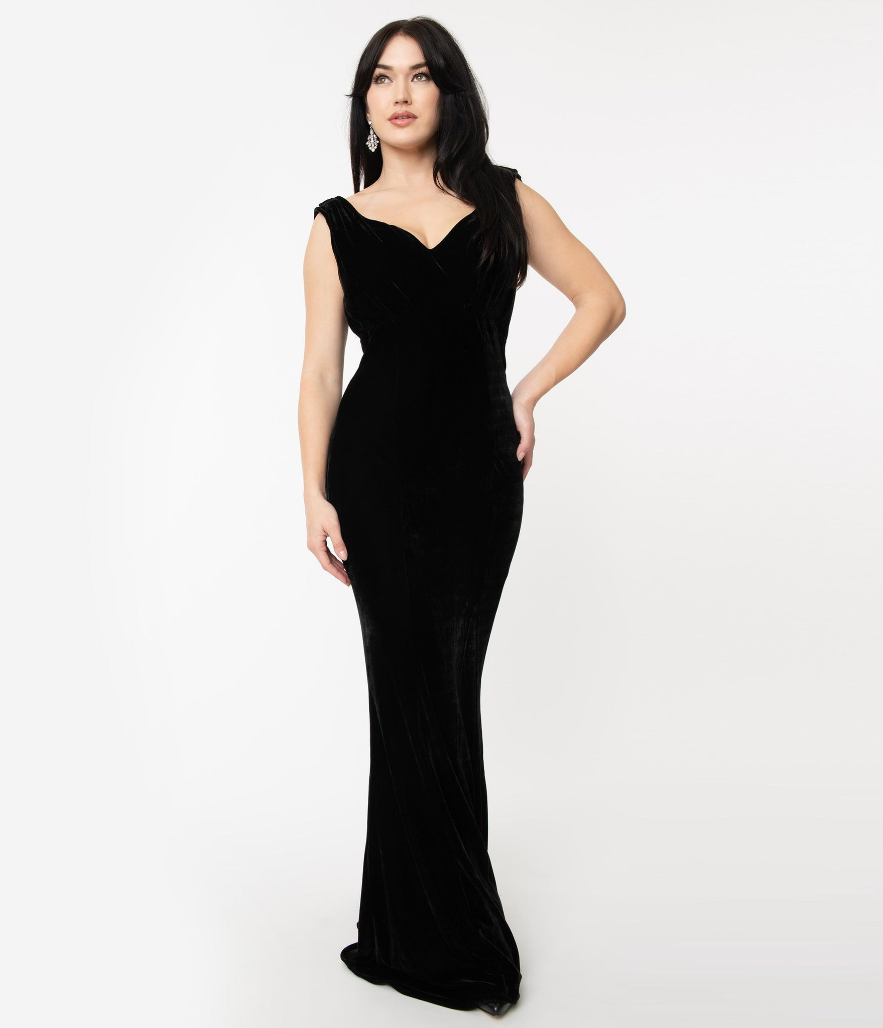Unique Vintage 1930s Style Black Velvet Goldwyn Gown