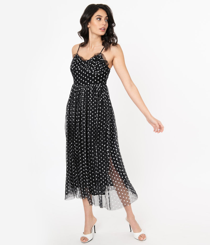 1940s Black Tulle & White Embroidered Floral Midi Dress