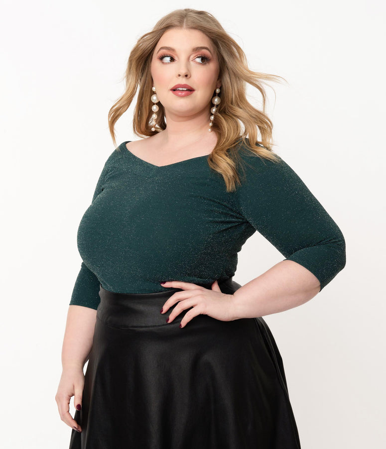 Unique Vintage Plus Size Green Sparkle Scarlett Top