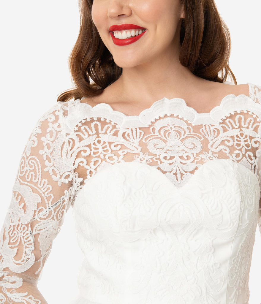 Chi Chi London Ivory Embroidered Flore Bridal Tea Dress