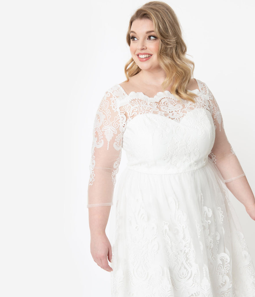 Chi Chi London Plus Size Ivory Embroidered Flore Bridal Tea Dress