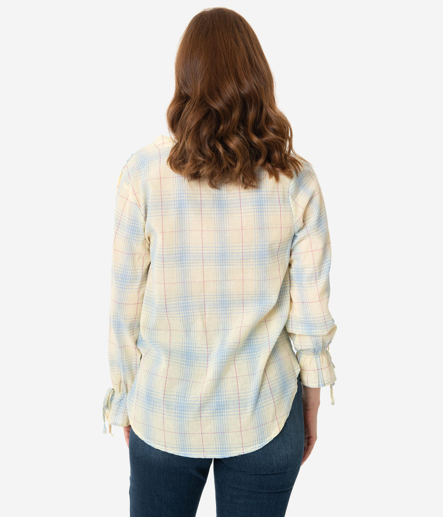 Lemon & Blue Plaid Front Tie Blouse