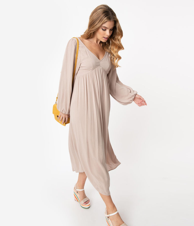 Retro Style Taupe Back Ties Midi Dress