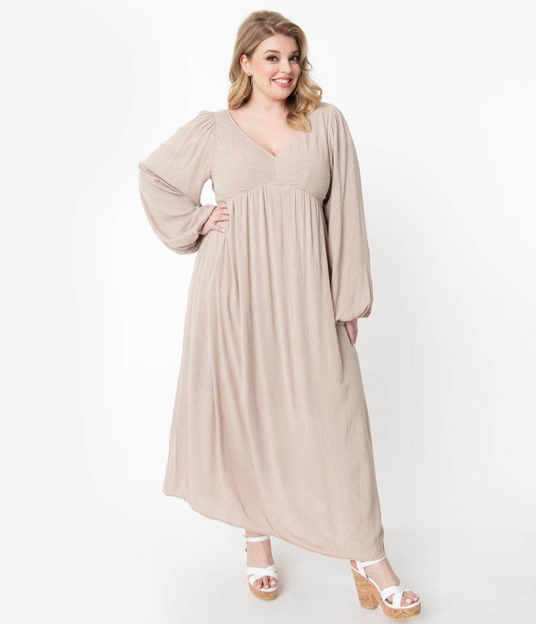 Plus Size Retro Style Taupe Back Ties Midi Dress