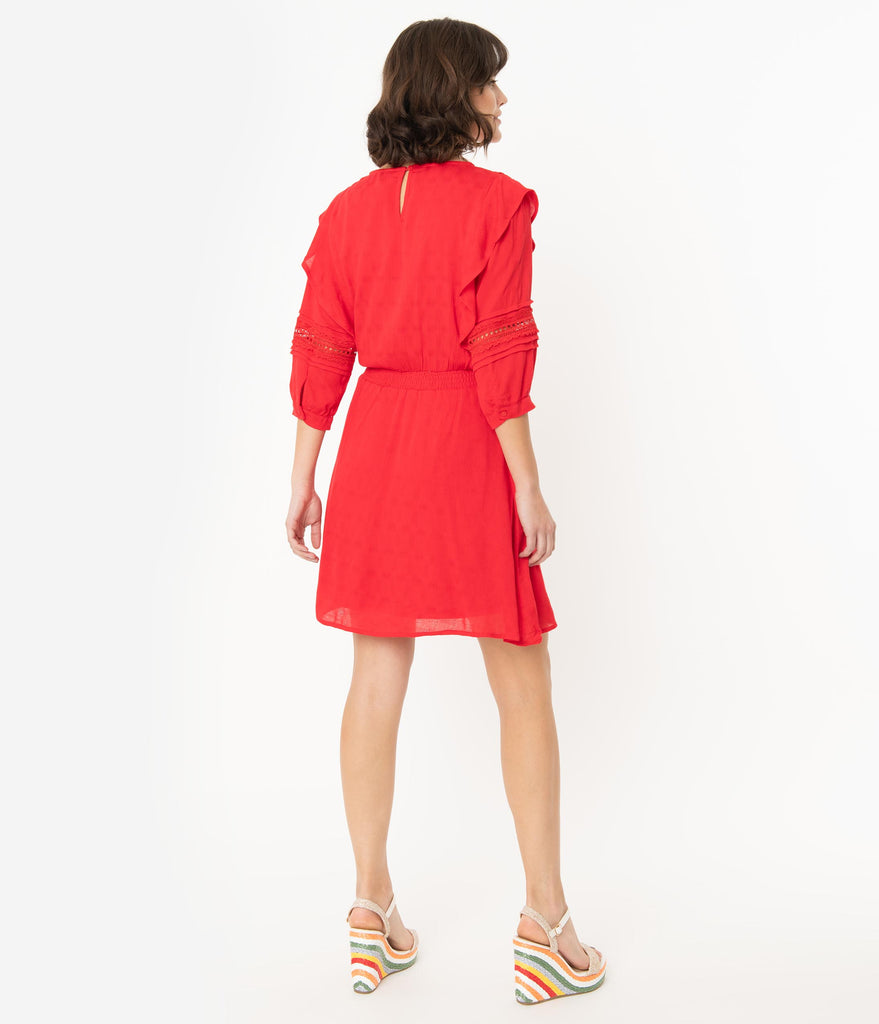 Red Three Quarter Sleeve Woven Dress