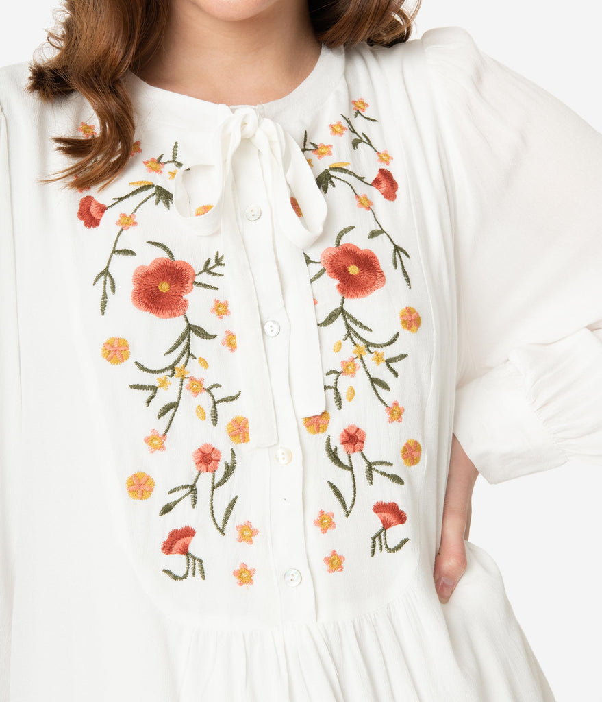 Retro Style Off White Floral Embroidered Tunic Dress