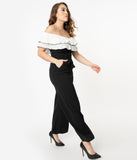 Black & White Off Shoulder Ruffle Jumpsuit