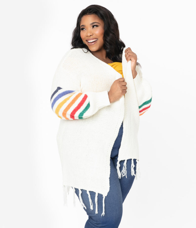 Plus Size Cream & Rainbow Knit Oversized Cardigan