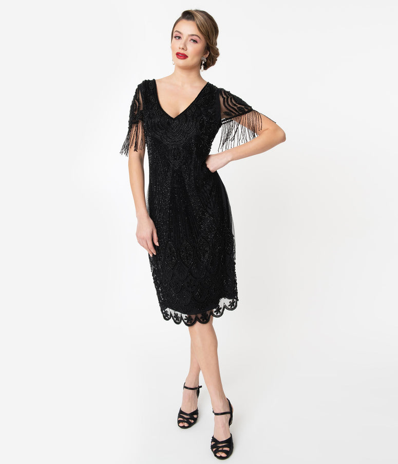 1920s Black Marta Beaded Flapper Dress