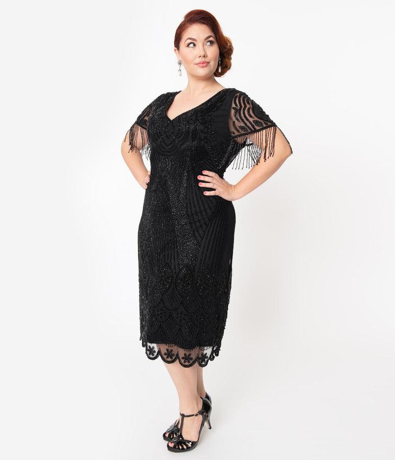 Plus Size 1920s Black Beaded Marta Flapper Dress
