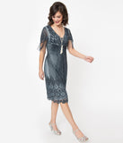 1920s Blue Grey Beaded Marta Flapper Dress