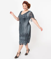 Plus Size V-neck Mesh Sequined Beaded Sheer Cap Sleeves Evening Dress
