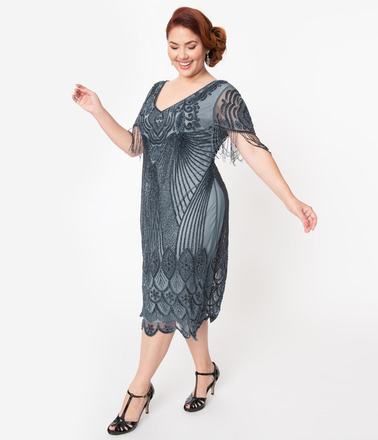 Plus Size 1920s Blue Grey Beaded Marta Flapper Dress