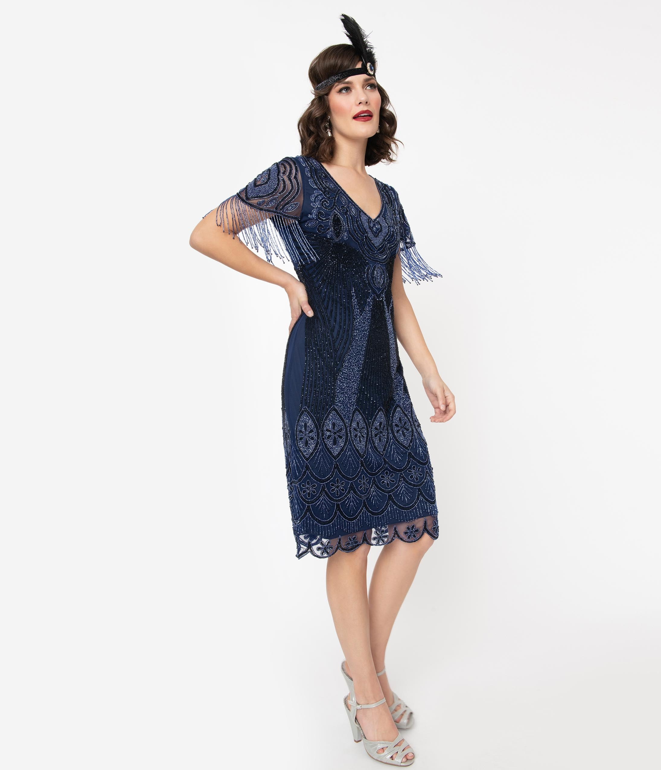 Charleston Dress: Fringe Flapper Dress 1920S Navy Beaded Marta Flapper Dress $158.00 AT vintagedancer.com