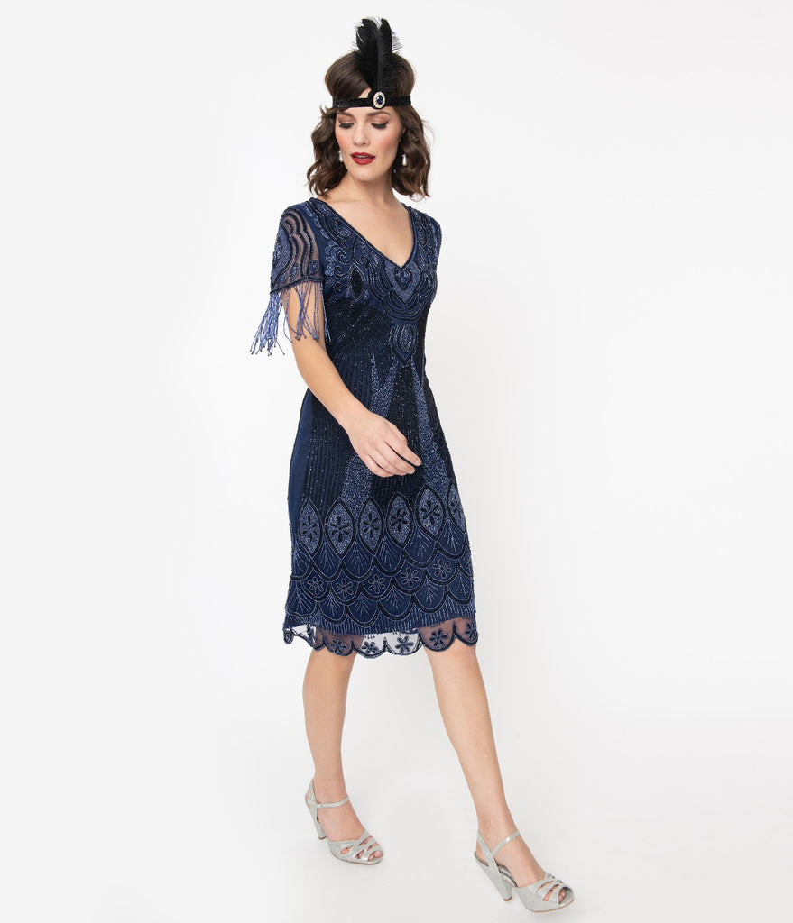 1920s Navy Beaded Marta Flapper Dress