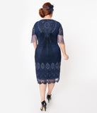 Plus Size 1920s Navy Beaded Marta Flapper Dress