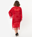 Red Devore Velvet Beaded Fringe Long Flapper Coat