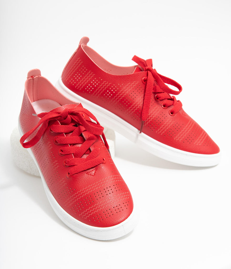 Red Perforated Sneakers
