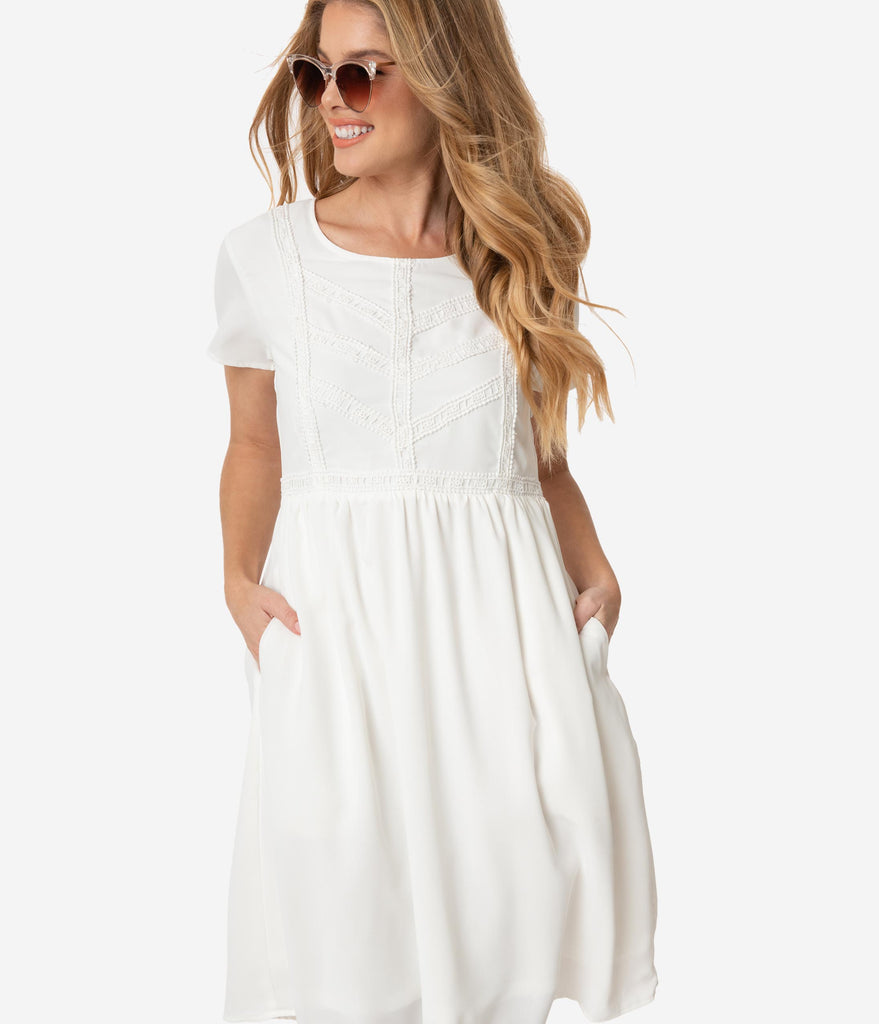 Retro Style White Embroidered Katie Summer Dress