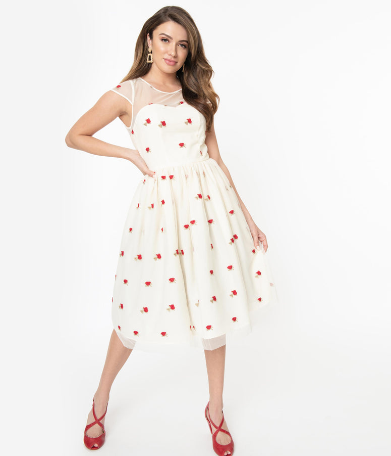1950s Cream & Red Rose Floral Melissa Swing Dress