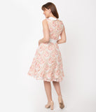 Retro Beige & Ivory Embroidered Tulle Alice Swing Dress