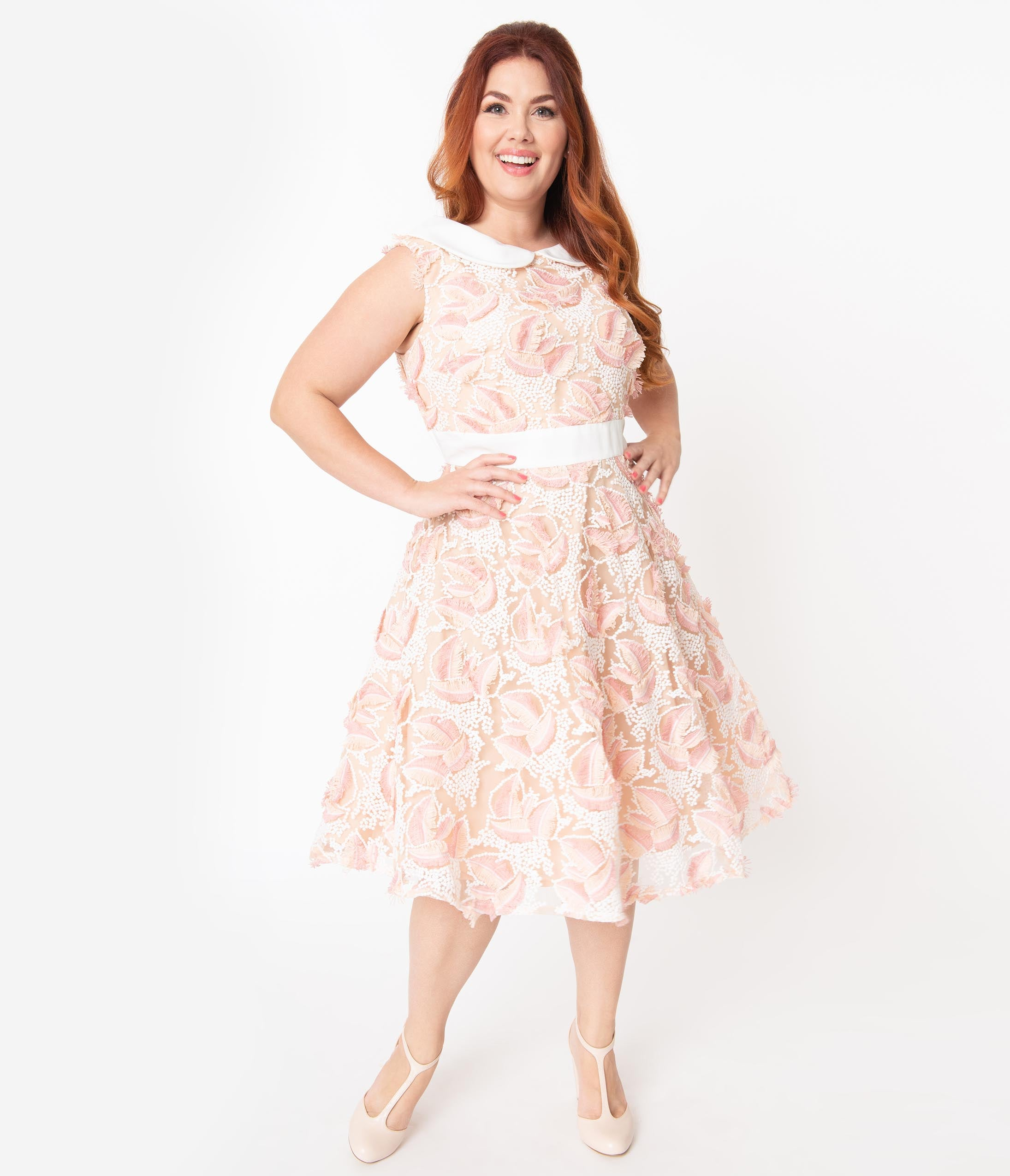 60s 70s Plus Size Dresses, Clothing, Costumes Plus Size Retro Beige  Ivory Embroidered Tulle Alice Swing Dress $108.00 AT vintagedancer.com