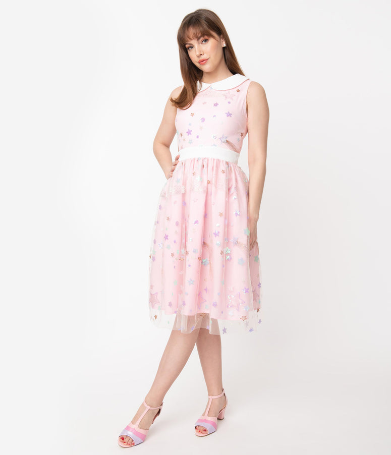 Light Pink & Multi Shooting Stars Tulle Alice Swing Dress