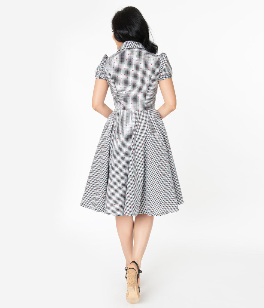 1950s Style Black & White Gingham and Red Cherries Mona Swing Dress