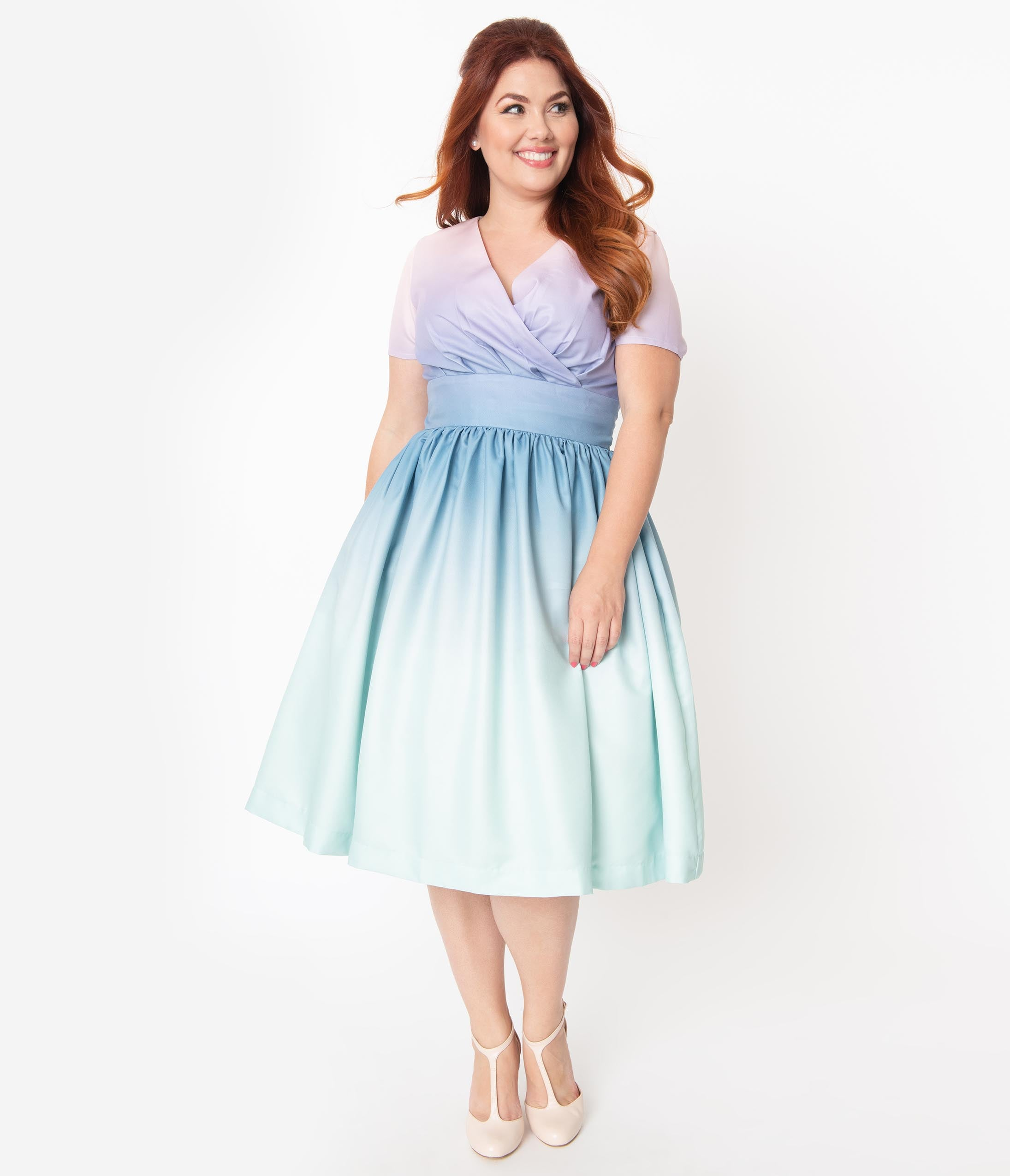 1950s Plus Size Dresses, Swing Dresses Plus Size Pastel Rainbow Ombre Alyssa Swing Dress $88.00 AT vintagedancer.com