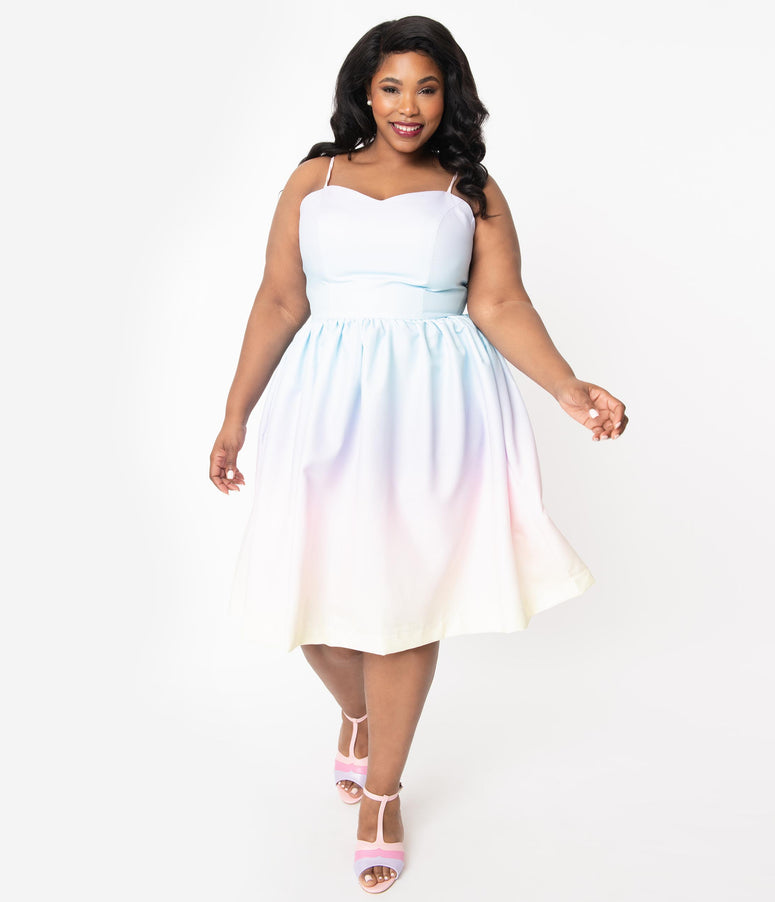 Plus Size Pastel Rainbow Ombre Ray Swing Dress
