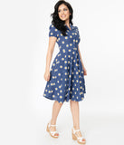1950s Style Navy Blue Daisy Print Short Sleeve Mona Swing Dress