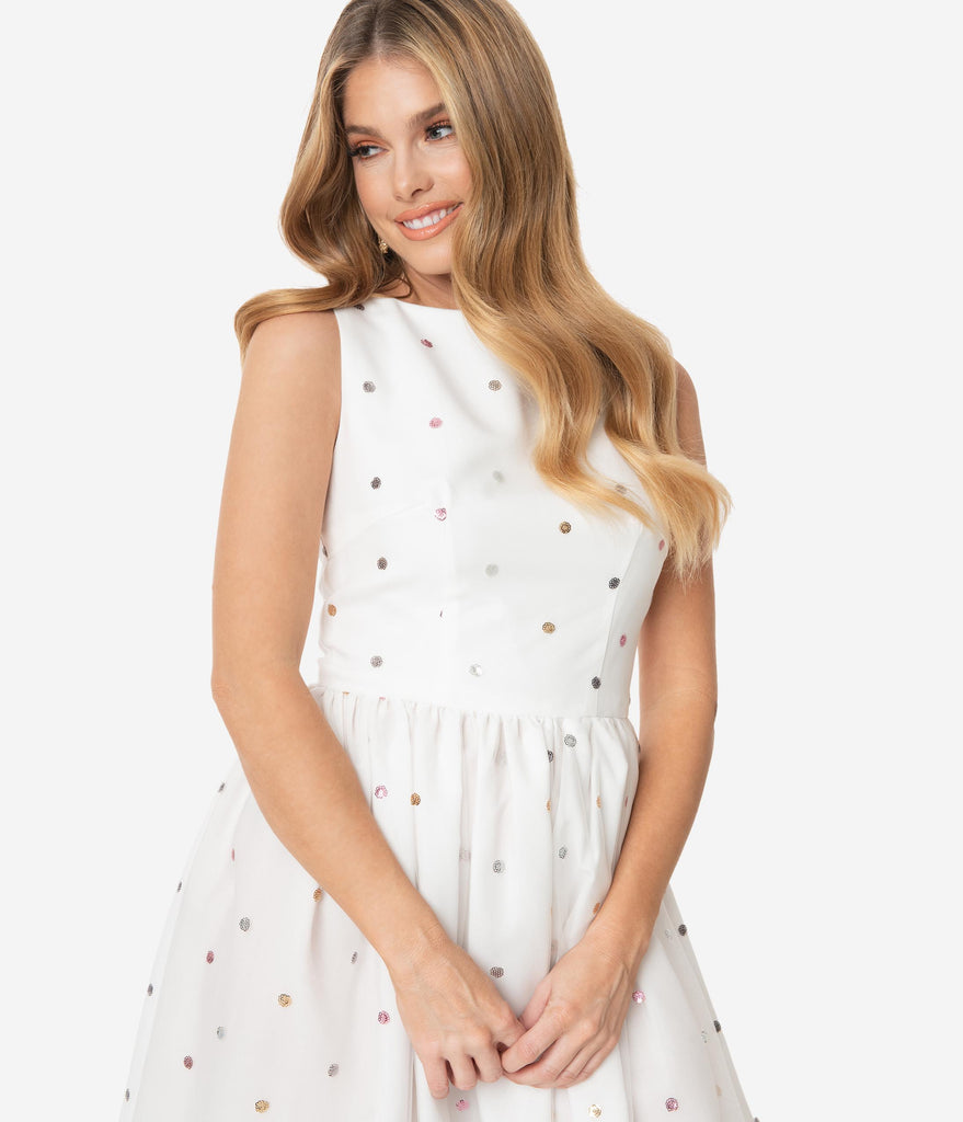 Ivory Mesh & Rainbow Sequin Dots Audrey Swing Dress