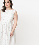 Plus Size Ivory Mesh & Rainbow Sequin Dots Audrey Swing Dress